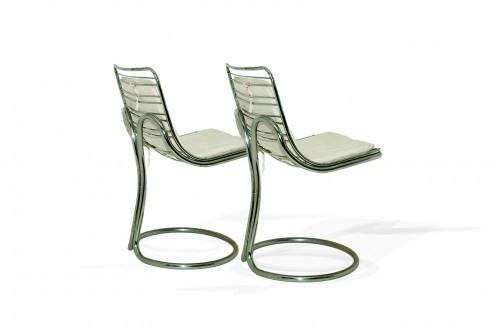 Paire de chaises en métal chromé, Italie 1980, dans le style de Gastone Rinaldi