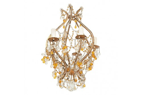 Lustre en métal doré, perlé, style bagues