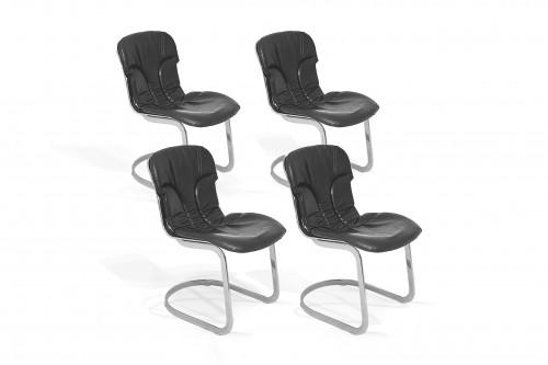 Chaises en Métal chromé et cuir par Willy Rizzo, set de 4