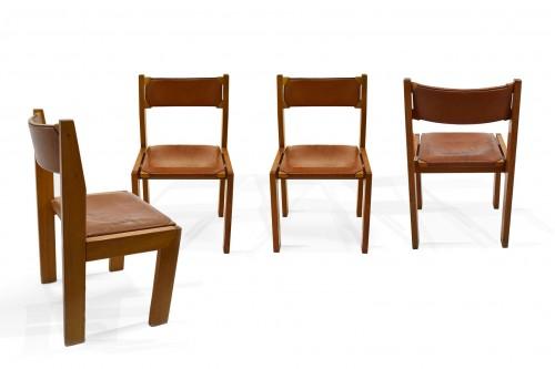 Chaises Roche Bobois dans le style de pierre chapo, set de quatre