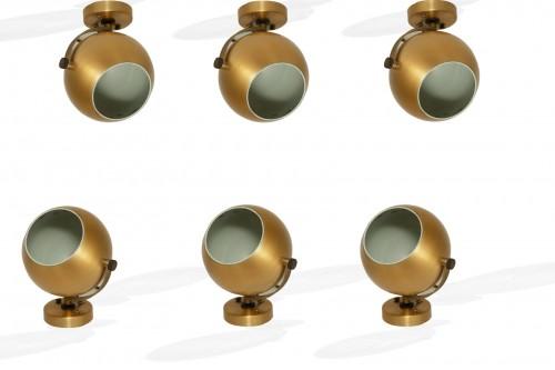 Appliques boules, en aluminium brossé, par Amilux, set de six