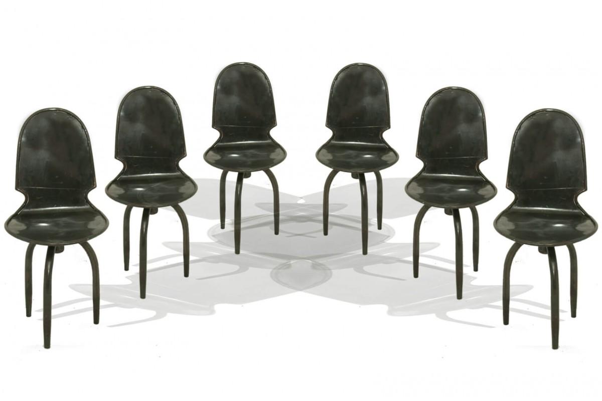 Chaises industrielles en fer, vintage , avec pied tripode, set de 6