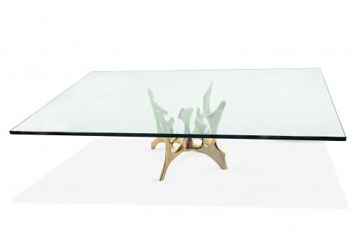 Table basse en bronze par Fred Brouard, numérotée et signée
