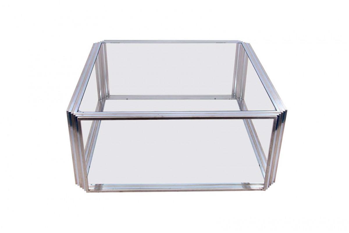 Grande table basse en chrome et laiton par Romeo Rega