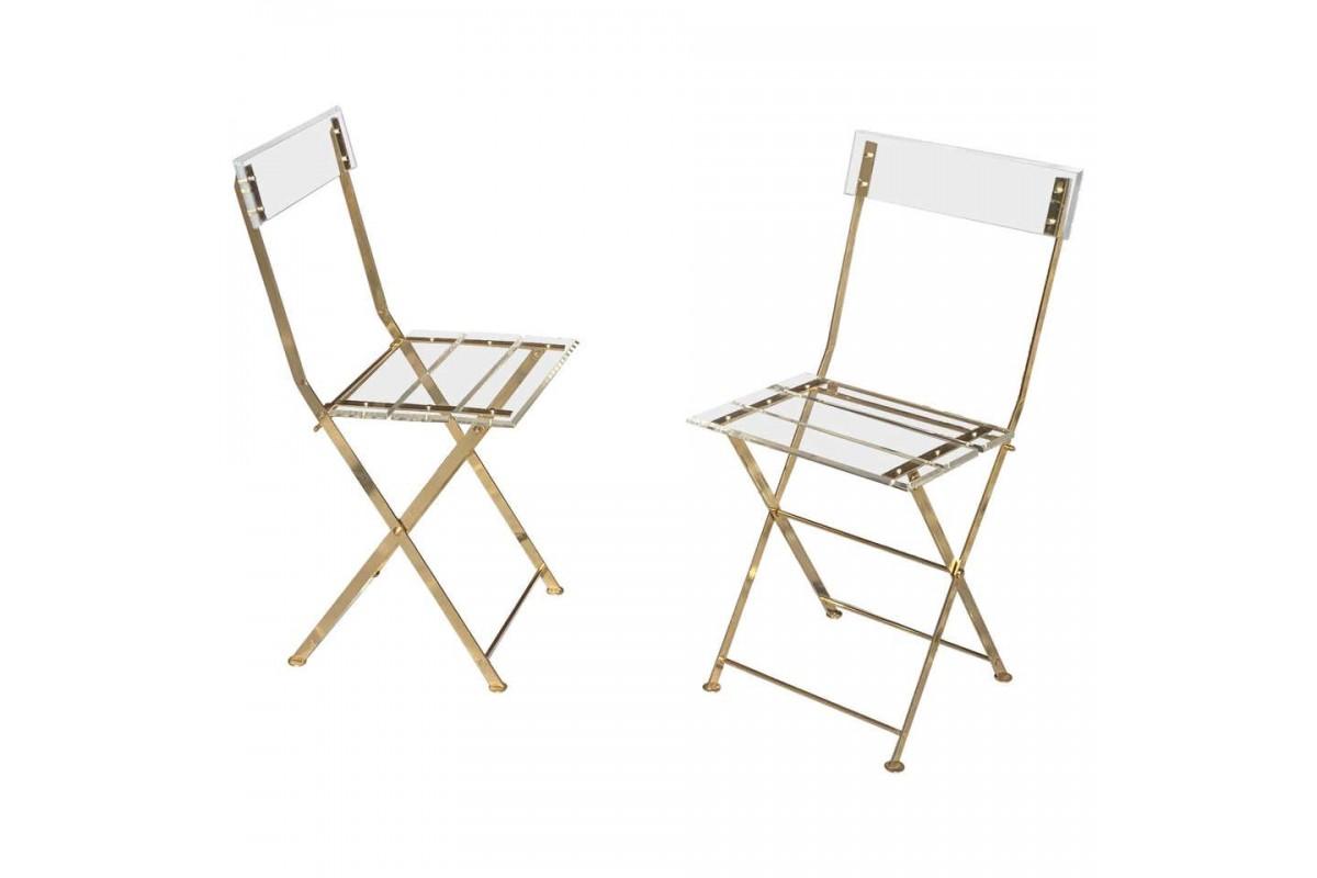 Paire de chaises en Plexiglas et Laiton de Yonel Lebovici, 1970