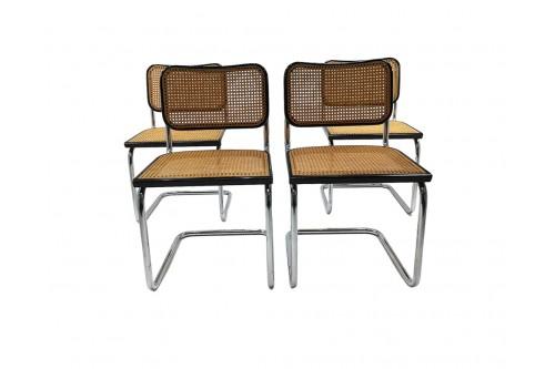 "Lot de 4 chaises B32 noir ""Made in Italy"" édition Cidue"