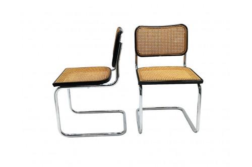 "Paire de chaises B32 noir ""Made in Italy"" édition Cidue"