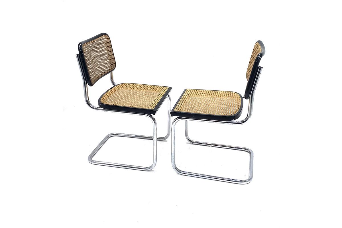 Paire de chaises B32 noir, édition Knoll