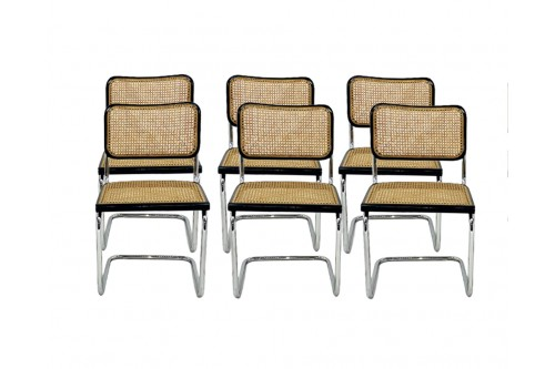 """Lot de 6 chaises B32 noir """"Made in Italy"""""""