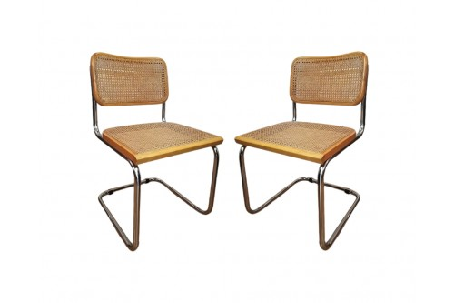 """Lot de 2 chaises B32 beige """"Made in Italy"""""""