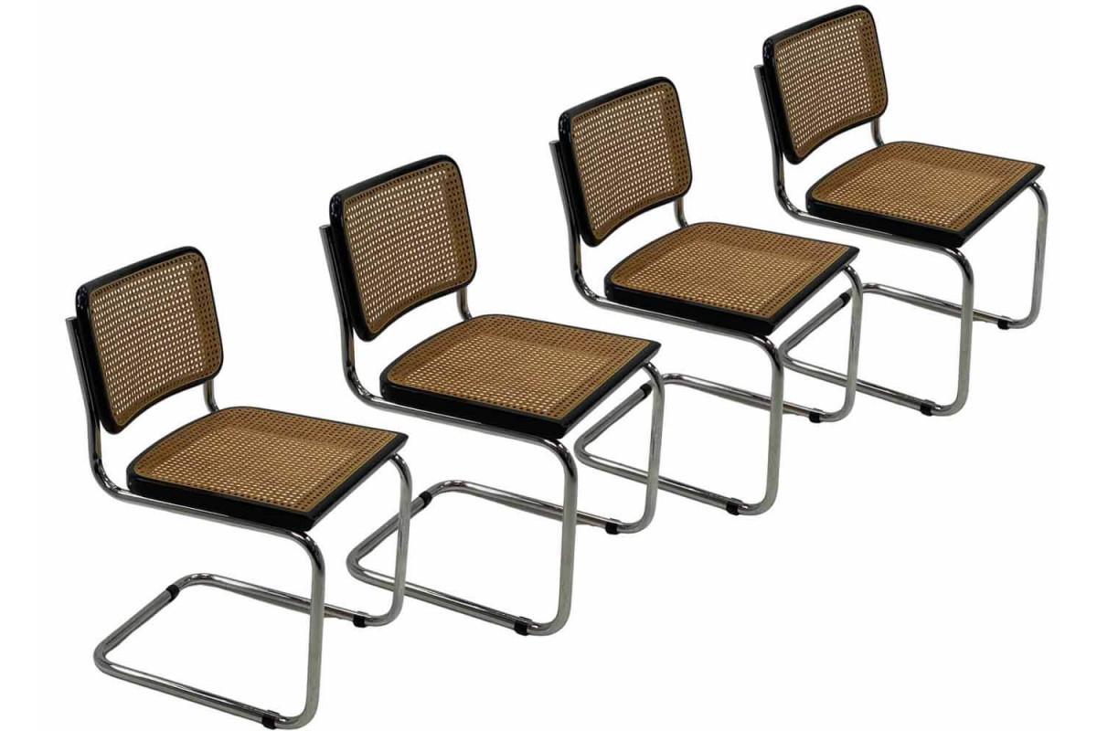 Lot de 4 chaises Cesca B32 de Breuer, édition Cidue