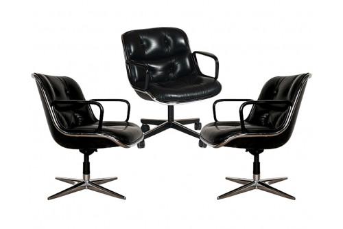 Lot de 3 fauteuils en cuir Pollock, édition Knoll
