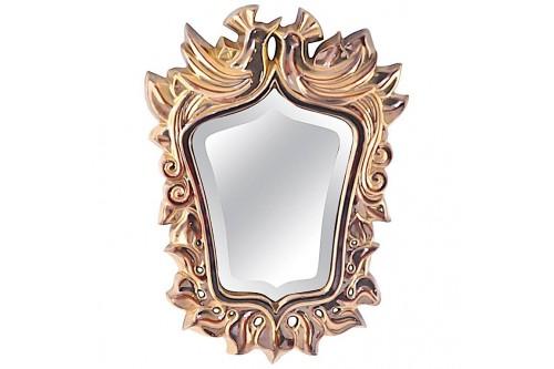 Miroir vintage en céramique dorée par Louis Giraud (France 1950)