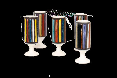 Gobelets en céramique émaillée par Roger Capron (France 1960, lot de 5)