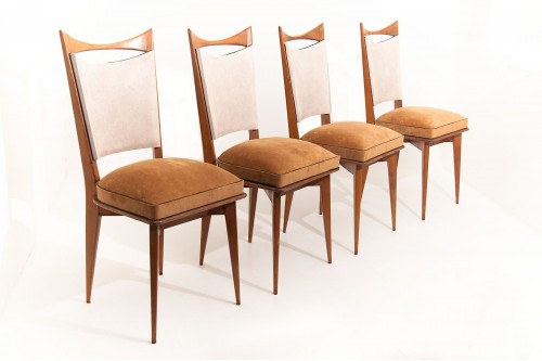 Chaises italiennes en bois, tissu et vinyle style Ico Parisi (1950, lot de 4)