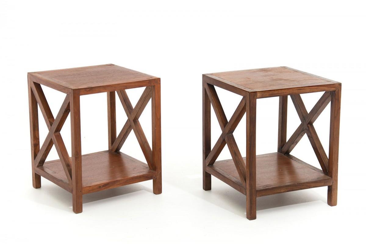 Paire de tables, bouts de canapé en acajou,1950, dans le style de Jean Royère