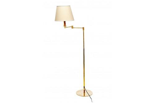 Lampadaire vintage en métal doré, classique , avec un bras articulé en deux parties