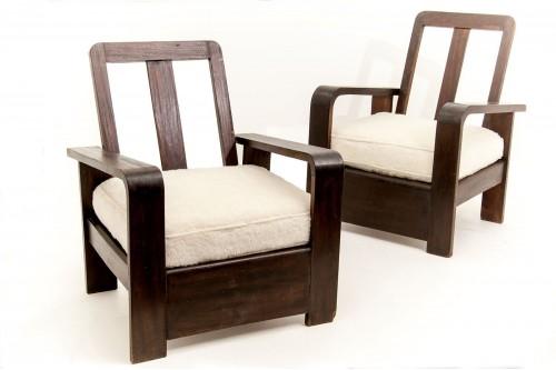 Acoudoirs fauteuils tissu peluche 1950