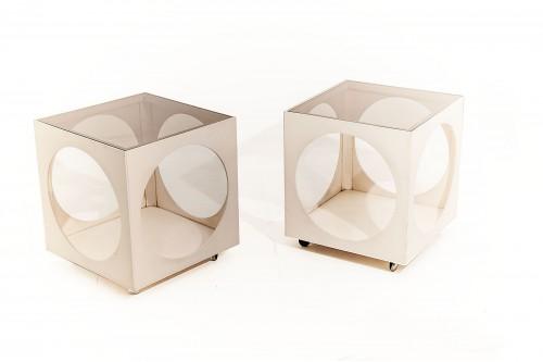 Bouts de canapé en bois blanc et verre à roulettes (France 1970, lot de 2)