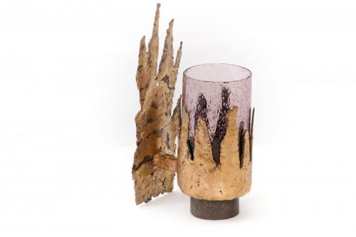 Applique en laiton et verre style Jacques Duval Brasseur (1970)