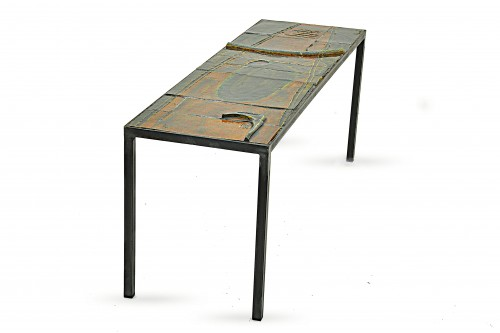 Table basse en céramique, de François Lanusé, marron, et verte, France, 1950