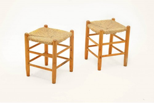 Tabourets style Charlotte Perriand (1950, lot de 2)