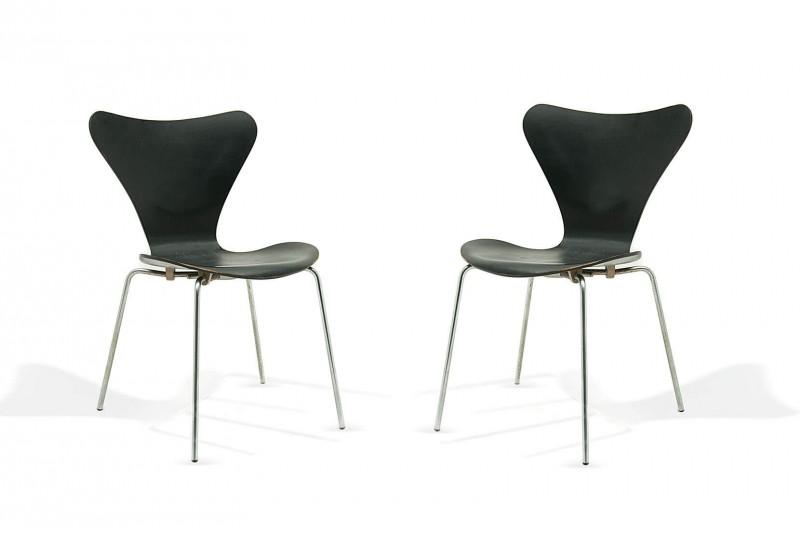 Chaises modèle 3107 de Arne Jacobsen pour Fritz Hansen (Danemark 1955, lot de 2)