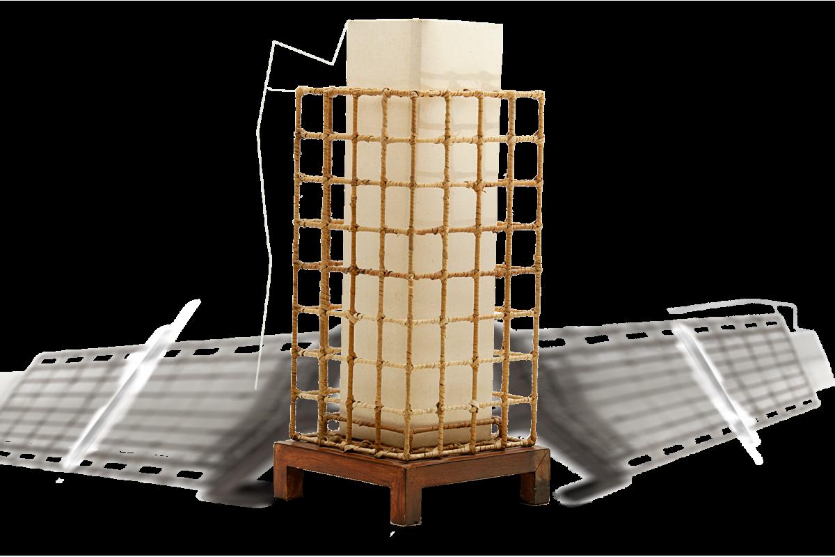 Lampe de table, dans le style de George Nakashima, slidder
