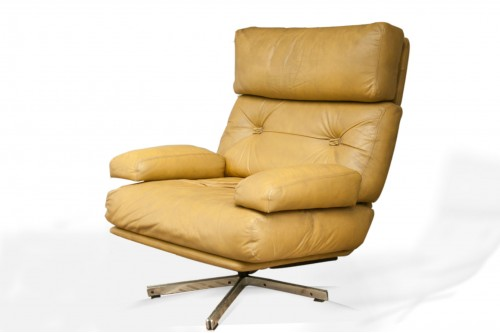 Fauteuil, lounge chair, en cuir et métal Chromé, Style De Sede, Suisse 1960