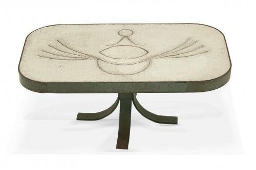 Table basse en acier et pierre blanche, style Peter et Denise Orlando, France1960, Vallauris