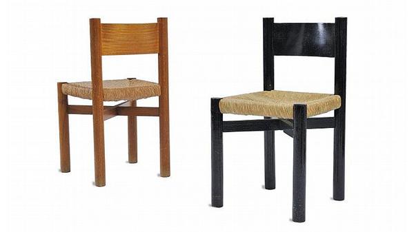 chaise perriand marron noir