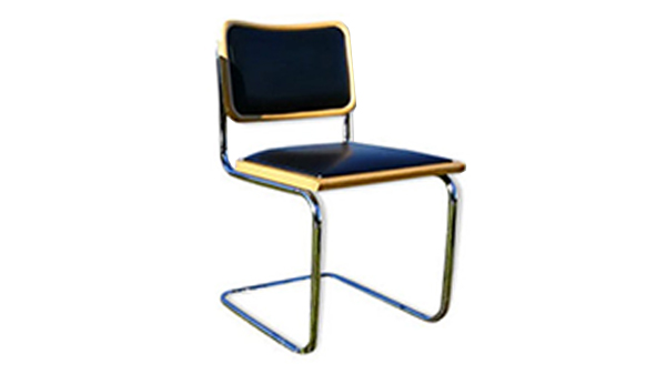 chaise b32 noir, simili cuir